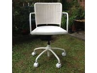 White Wicker Office Chair