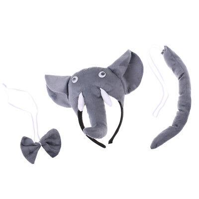 Elefant Kostüm Zubehör Set - Elefant Ohren Stirnband Schwanz Fliege - Elefanten Schwanz Kostüm
