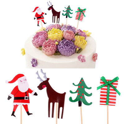 Cupcake Party Theme (24pcs Christmas Theme Party Santa Cake Picks Cupcake Toppers Food)
