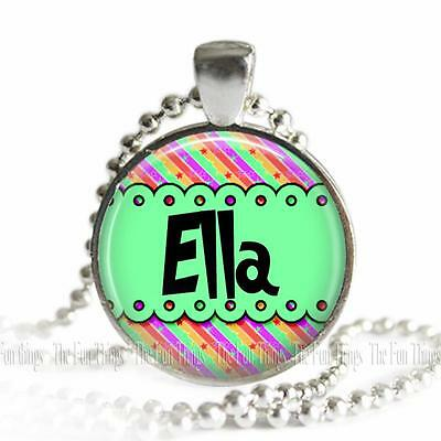 Personalized Girl's Name Whimsical Pattern Glass Top Pendant Necklace with - Whimsical Names Girl