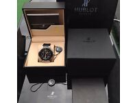 new full package mens black face silver casing black ceramic bezel rubber bracelet Hublot Fusion