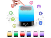Lamp Bluetooth Stereo Speaker with Microphone and Battery 4000mAh, Portable Bedside Lamp Bedroom
