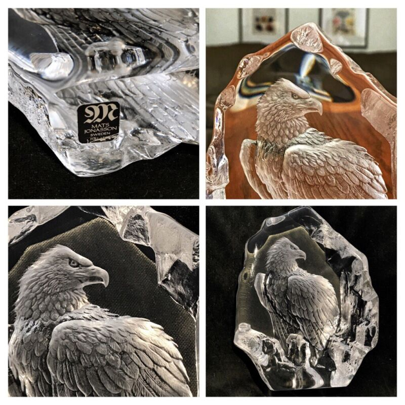 MATS JONASSON, SWEDEN, CRYSTAL EAGLE, PAPERWEIGHT, SIGNED EUC