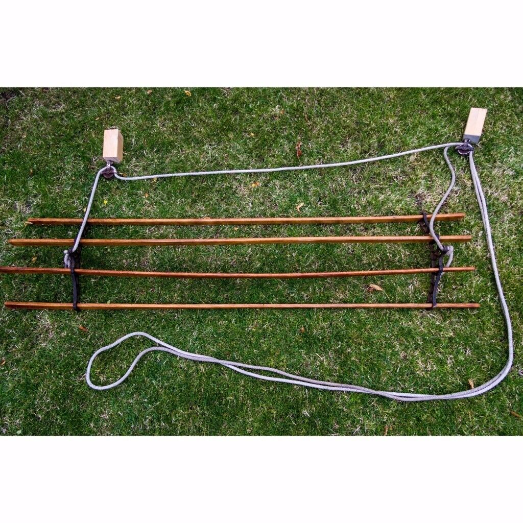 Antique clothes airer 4 lath with pulleys