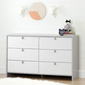 South Shore Furniture 10276 Cookie 6 Drawer Double Dresser, Soft Gray & Pure White