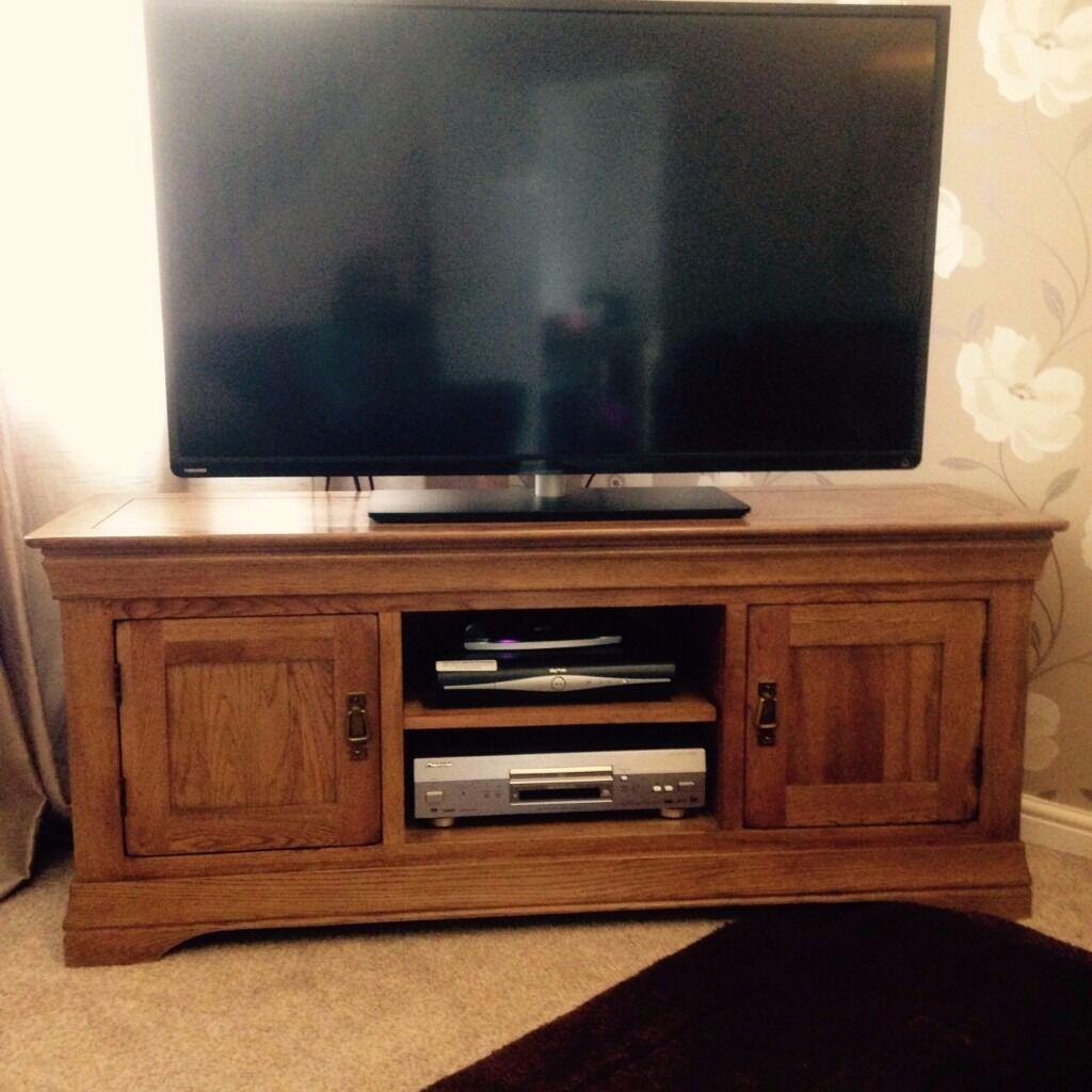 French Farmhouse Rustic Solid Oak Widescreen TV Cabinet from Oak ...