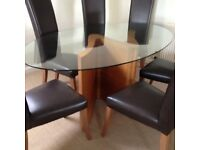 Tom Schneider Serpent Oval Dining Table & Six Leather Chairs