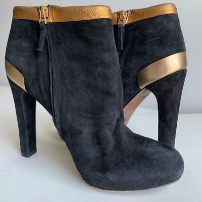 FENDI Black & Metallic Gold/Bronze Suede Heeled Ankle Boots 36.5 US 6.5