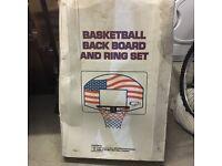 Basketball backboard and ring set