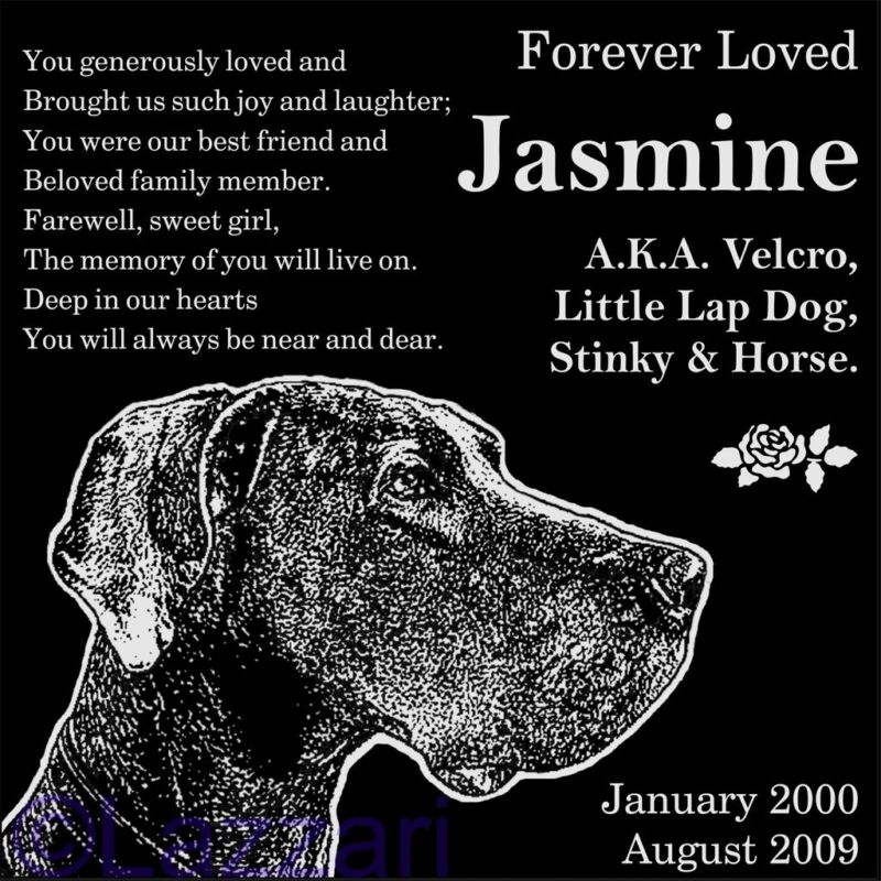 "Personalized Great Dane Dog Pet Memorial 12"" Custom Engraved Granite Headstone"