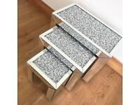 SET OF 3 MIRRORED CRUSHED DIAMOND CRUSH NEST SIDE TABLES SPARKLE CRYSTAL MODERN