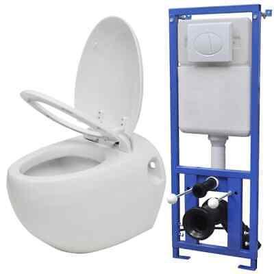 vidaXL Inodoro Suspendido de Pared y Cisterna Oculta Blanco WC Váter Retrete
