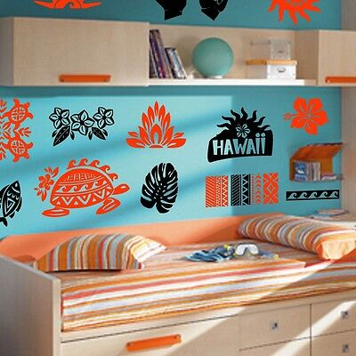 Hawaii Room Theme Decals, Island Room Stickers, Tiki Wall Decor (Island Themed Decorations)
