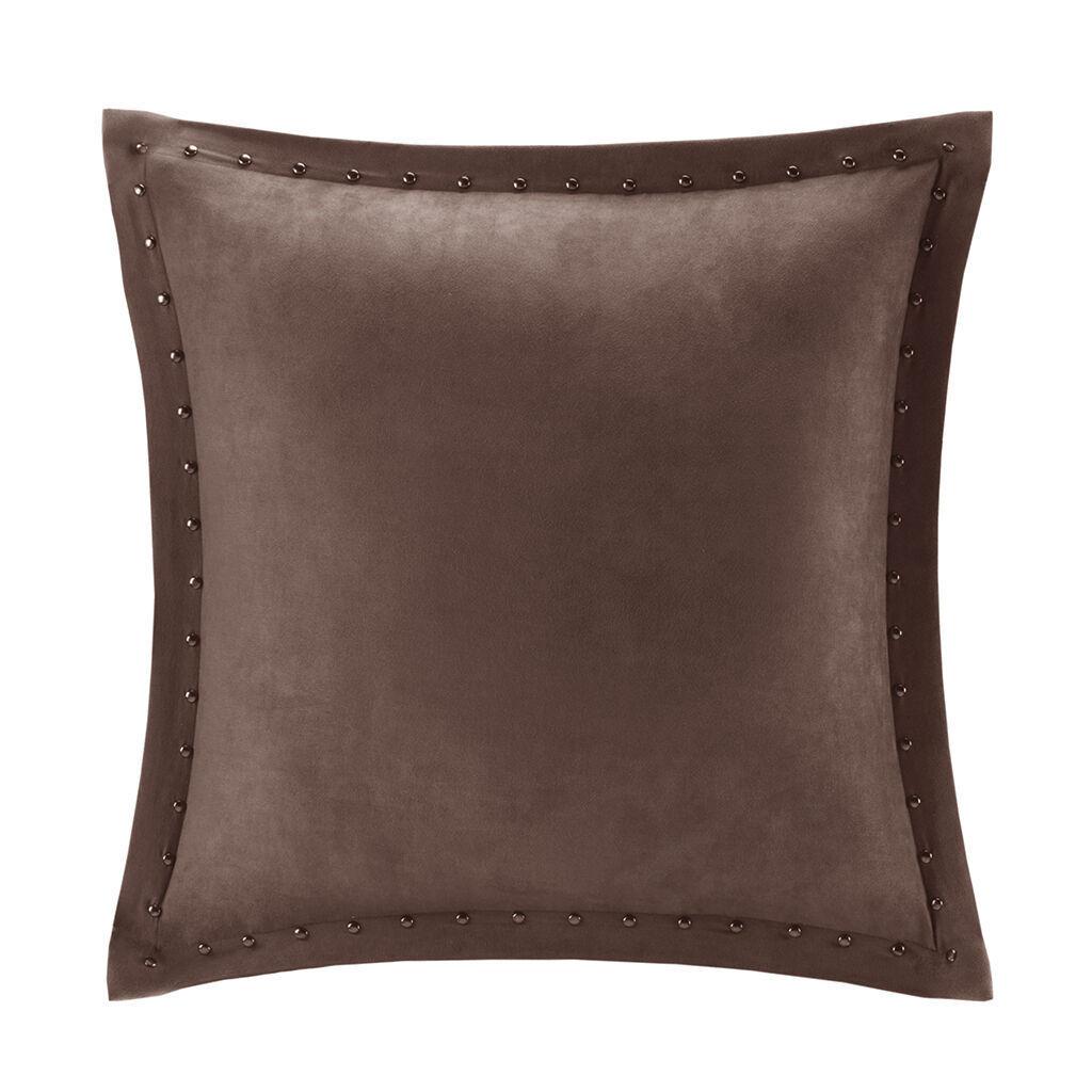 alban stud trim microsuede square pillow