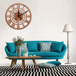 Large Round Sun Shape Vintage Roman Handmade Decorative Art Wood Wall Clock