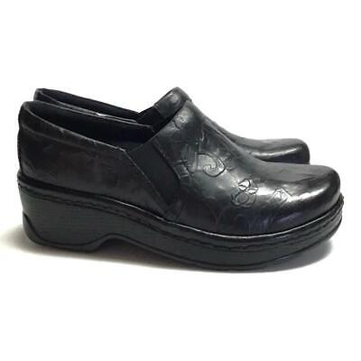 NEW Klogs Naples Women 11 Tooled Closed Back Clogs Black Floral Leather Slip On