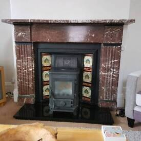 Original Victorian Red Marble Surround and Insert