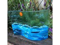 Art glass. Ornament/decorative/unique/wave/sea/home.