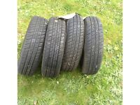 Four nearly new tyres