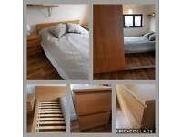 Ikea bedroom Set: Wardrobe, King Size bed, 2x Bedside, chest of 6 drawers, 2 shelfs