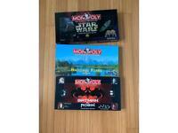 Star Wars /Batman & Robin /national park vintage Monopoly x 3 job lot