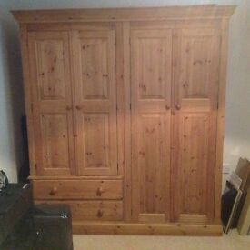 Solid Pine Double Four Door Wardrobe from Old Creamery Furniture Company