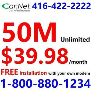 Unlimited 50M internet $39.98/month and up,no contract, $5/month wireless AC modem rental extra. Pls call 1-800-880-1234