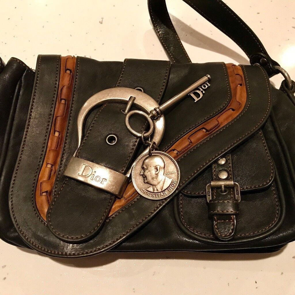 f6c2aedbd21a Authentic Christian Dior Large Double Gaucho Black Leather Saddle ...