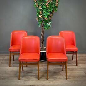 Attractive Set of Four Vintage Red Vinyl Romanian Mid Century Chairs