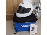 MDS full face crash helmet, white, perfect unmarked condition.