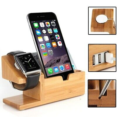 For Apple Watch iWatch iPhone Bamboo Charging Dock Station Charger Holder (Charging Dock Station)