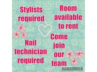 Hair stylist, nail technician, room to rent in busy East Lothian salon