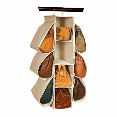 Closet Storage Handbag Purse Hanging Holder Organizer Non Woven 10 Pocket Beige
