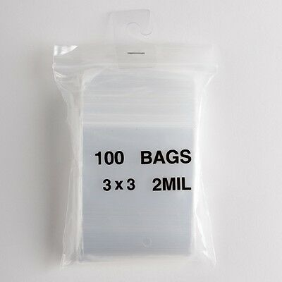 100 Small Ziplock Bags 3x3 Clear Plastic 2 Mil Zip Lock Storage Bag Baggies