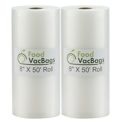 2 FoodVacBags 8x50 Rolls 4 mil Embossed Vacuum Sealer Bags for FoodSaver machine