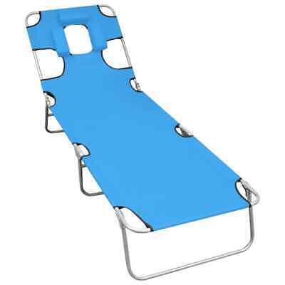 vidaXL Folding Sun Lounger with Head Cushion Steel Turqoise Blue Lounge Chair