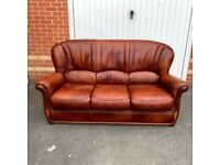 Excellent Condition 3 Seater Brown Leather Sofa ( Local Free Delivery )