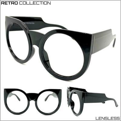Übergröße Übertriebener Retro Dick Schwarz Glasloses Brillen Rahmen nur No Linse