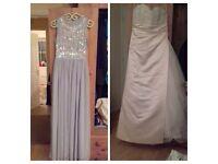Rosetta Nicolini light gold/cream size 16 and 4 asos bridesmaid dresses