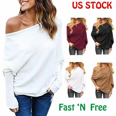 US Oversize Women Off Shoulder Batwing Sleeve Knit Sweater Tops Pullover Outwear Batwing Sleeve Knit Top