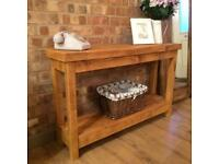 New Rustic Plank Handmade Solid Pine Console Table with Shelf