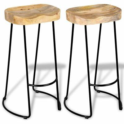 vidaXL Solid Mango Wood 2 Piece Gavin Bar Stools Kitchen Dining Room - 2 Piece Dining Room Chair