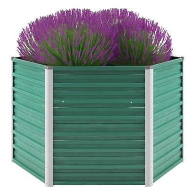 vidaXL Garden Raised Bed Galvanised Steel 129x129x77cm Green Plant Raised Bed