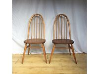 Pair of vintage Ercol 365 Quaker Windsor chairs two 2