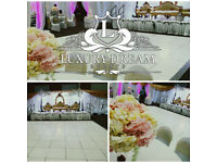 CHEAP WHITE LED DANCE FLOOR, BACKDROPS, THRONES, UPLIGHTING, MR & MRS, JUST MARRIED, GIANT HEART