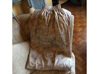NEXT beige & grey long fully-lined curtains + pelmet + tiebacks- VGC