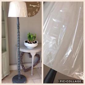 Grey Wooden Standard Lamp with Shade