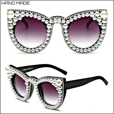 Oversized Retro Cat Eye Style SUN GLASSES Custom Made with Pearls & (Cat Eye Pearl)
