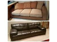 Brand New Dark Brown MASSA Leather 3 Seater Sofa and Excellent Condition Fabric Sofa RRP £3500