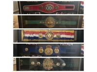 GREAT COLLECTION OF 5 LARGE BOXING MEMORABILIA REPLICA FRAMED BELTS - MAN CAVE, BAR, SPORTS CLUB ETC
